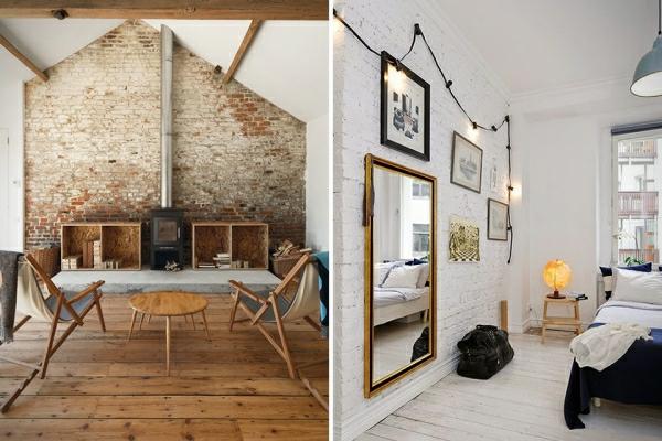 wandgestaltung ziegelstein: kreatives wohnzimmer mit interessanten ...