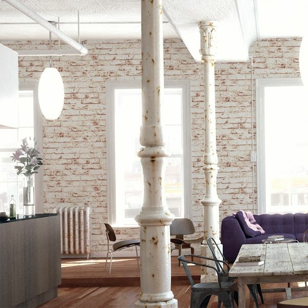 steinoptik tapete rustikales wohnzimmer einrichten wanddeko ideen - Stein Tapete Wohnzimmer Ideen