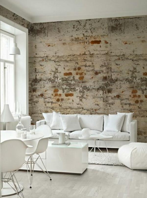 backstein tapete wohnzimmer modern einrichten wanddeko ideen - Wohnzimmer Idee Tapete