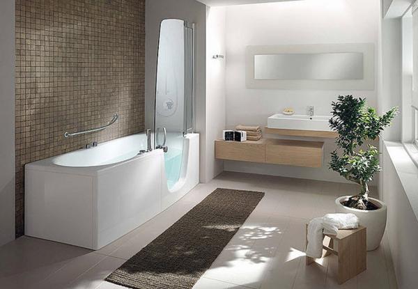 badewanne duschwand glas modernes badezimmer
