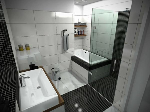 badezimmer gestalten badewanne duschwand glas badfliesen kombinieren