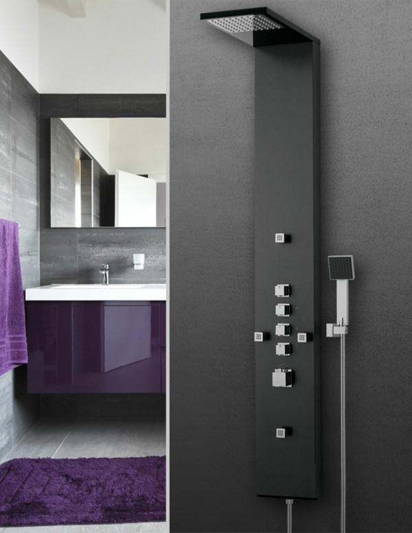 badmöbel set duschpaneel schwarz badfliesen badarmaturen