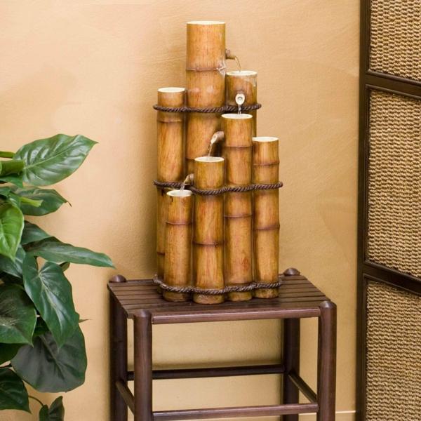 bambus deko bambus stämme wasserbrunen