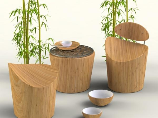 bambus deko bambusmöbel beistelltisch hocker