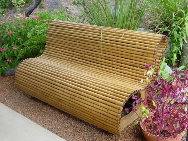 bambusdeko gartenbank kieselsteine