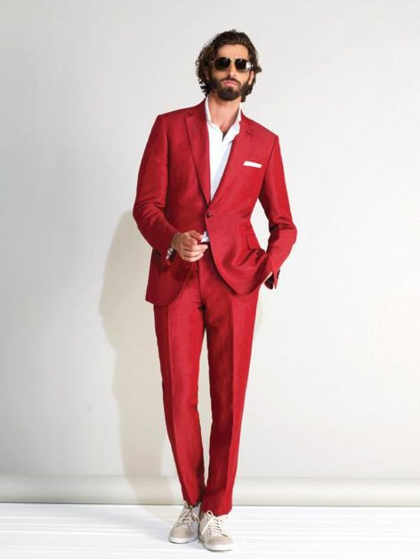 brioni herrenmode italienischer anzug modern rot