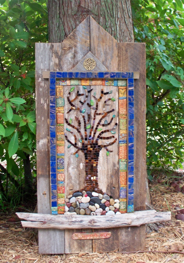 basteln mosaik gartenideen deko holz