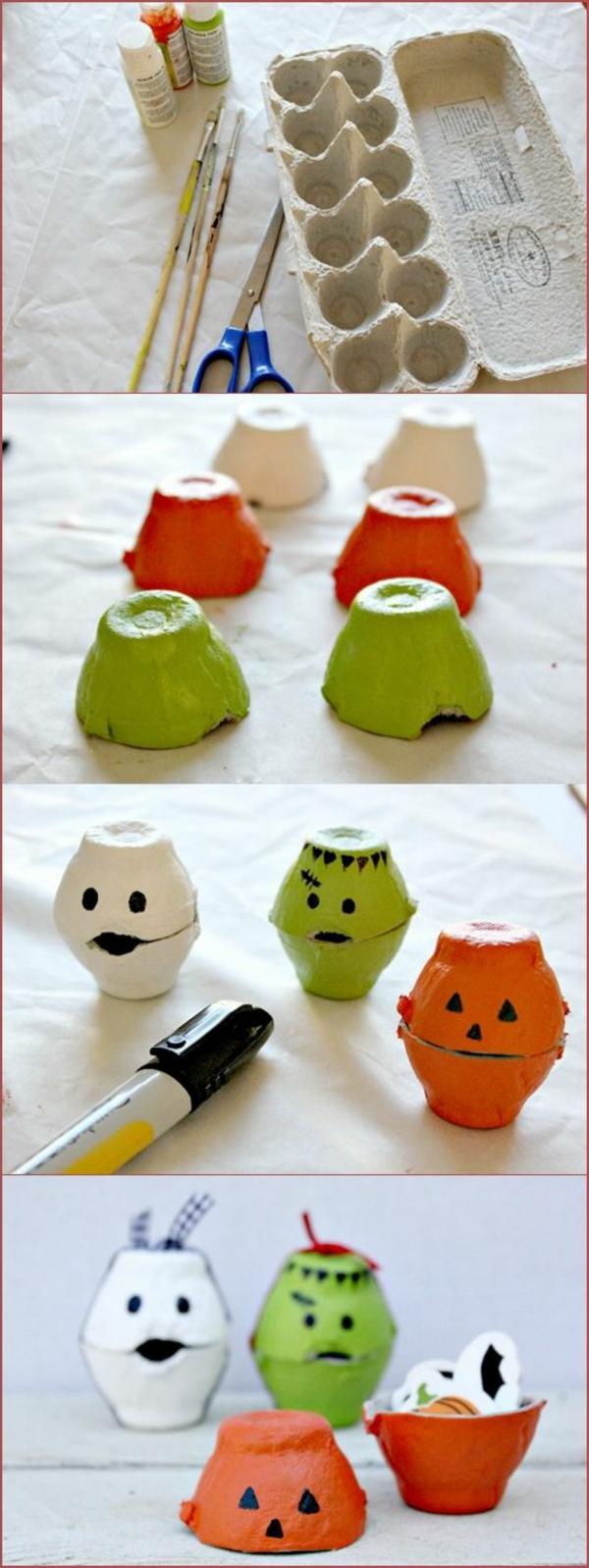 coole bastelideen eierschachtel farbige figuren