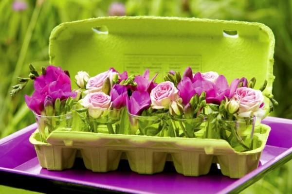 deko selber machen aus eierschachteln pflanzenbehälter