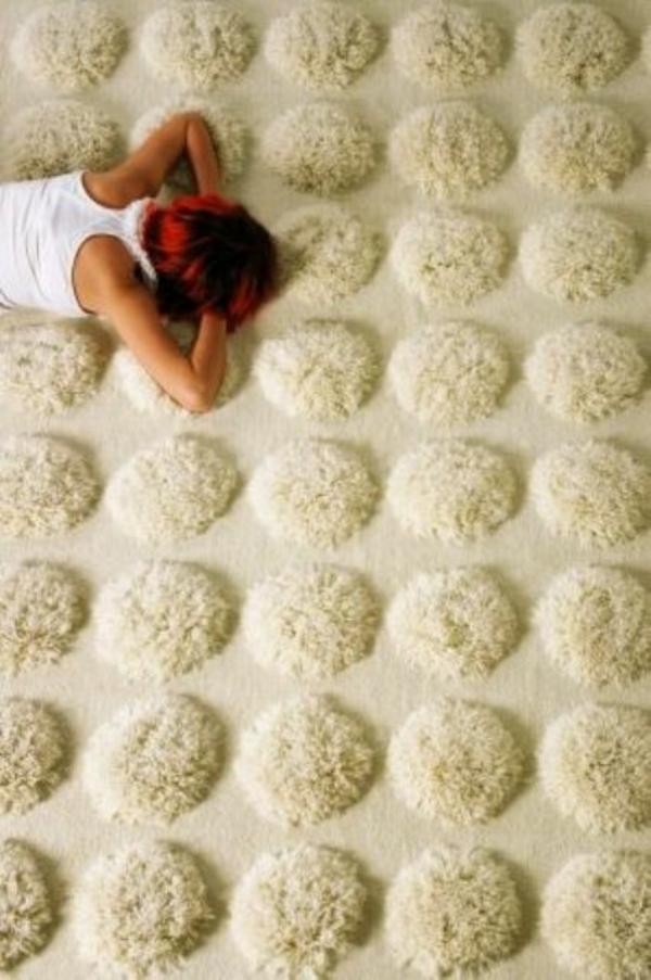 designer teppiche bommel weiß kuschelweich