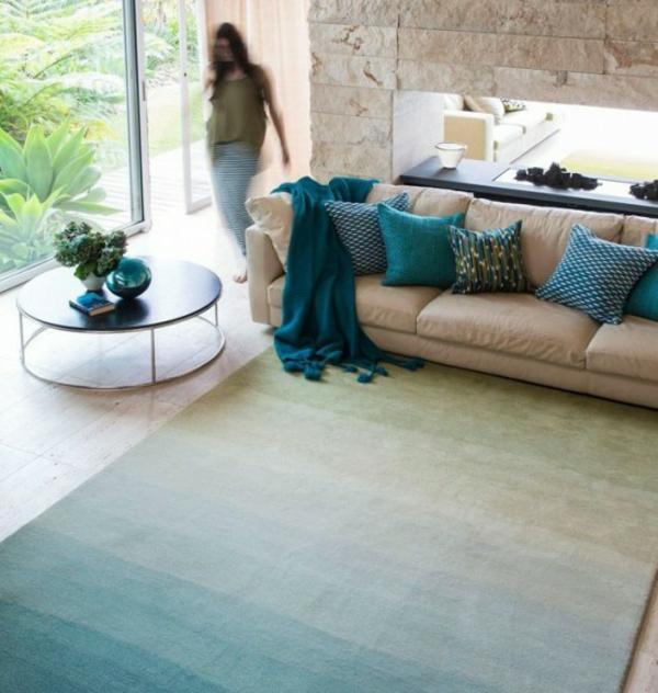 designer teppiche bunte teppiche blau ombre effekt