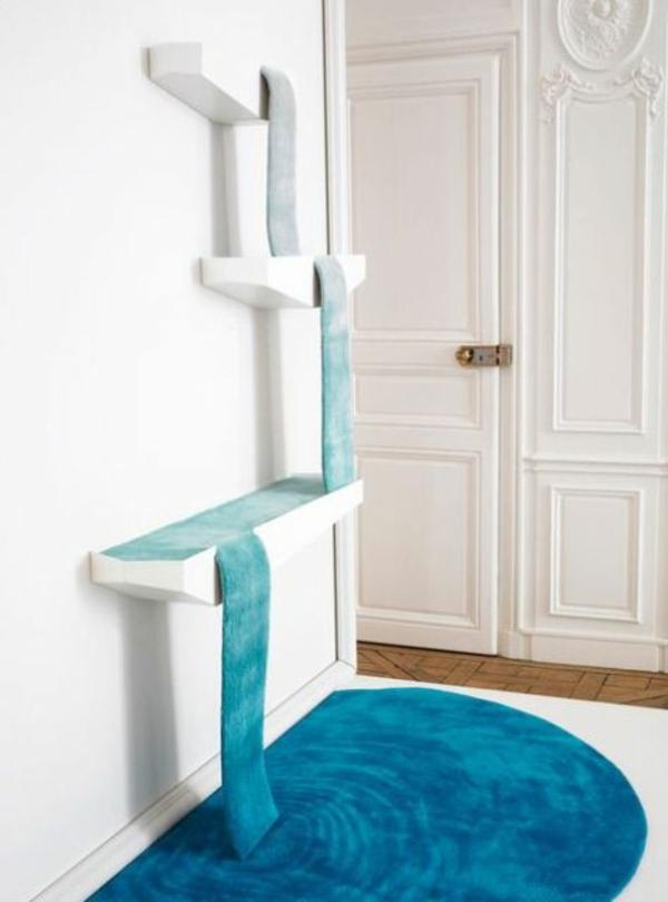 designer teppiche bunte teppiche blau wasserfall