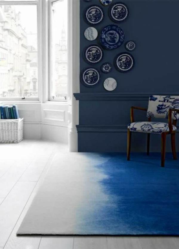 designer teppiche wohnzimmer bunte teppiche blau ombre effekt