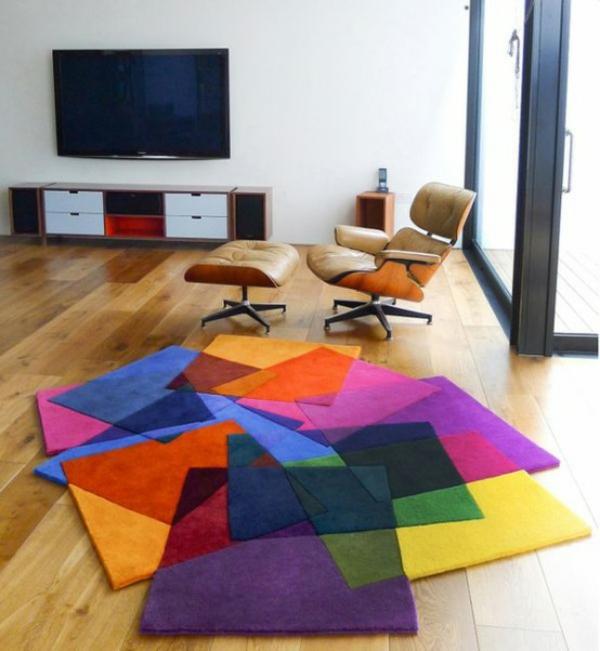 designer teppiche wohnzimmer bunte teppiche grelle farben