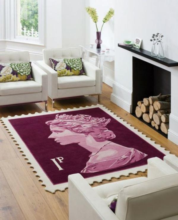 designer teppich wohnzimmer kamin bunte teppiche königin