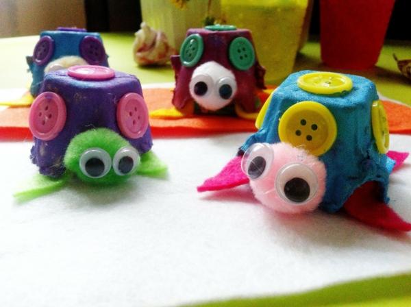 diy ideen eierschachtel farbige figuren basteln dekorieren