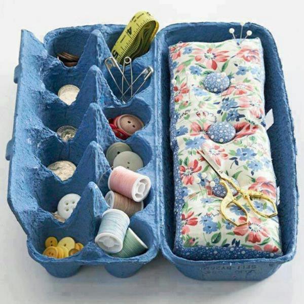 diy ideen schöne wohnideen eierschachtel blau