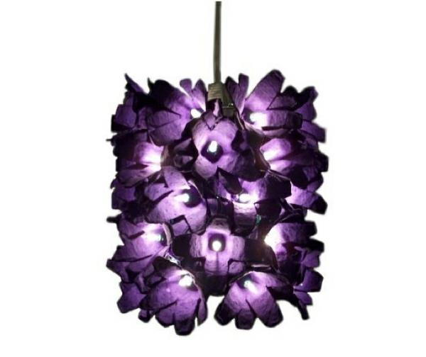 diy ideen schöner lila leuchter eierschachtel