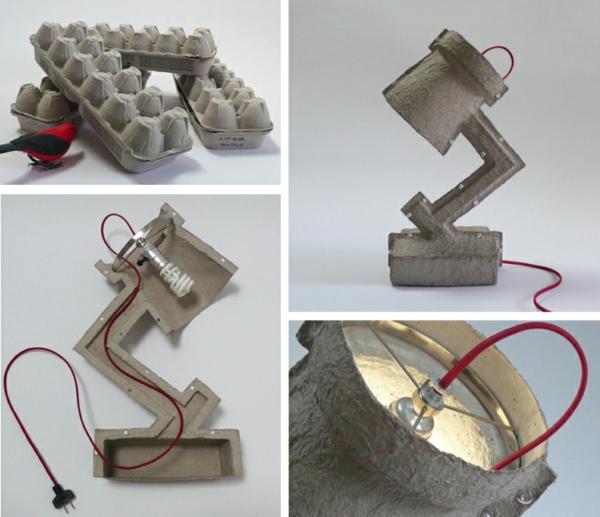 diy ideen tischlampe design originell eierschachtel