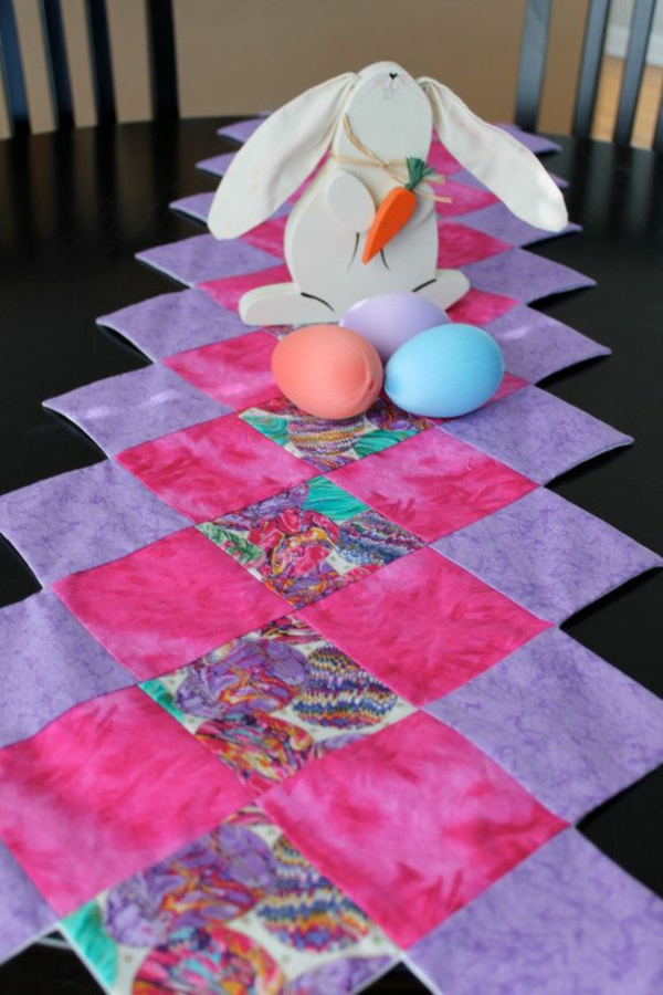 diy patchwork tischläufer ostern festliche tischdeko ideen