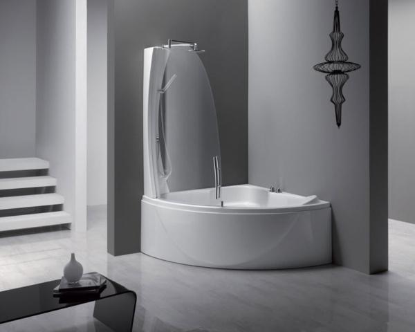 duschwand für badewanne badezimmer gestalten grau