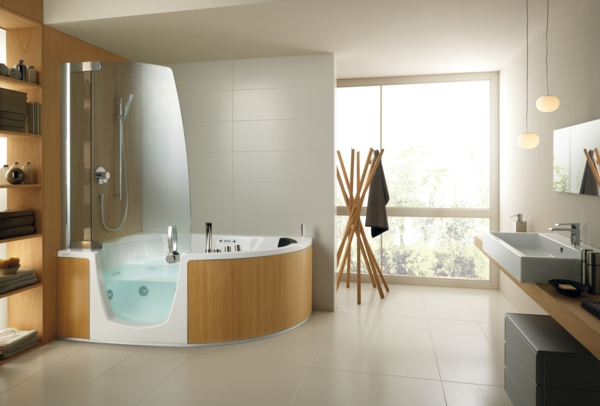 Wonderful Modern Badezimmer Gestaltung Holz Fliesen Eckbadewanne Photo Gallery