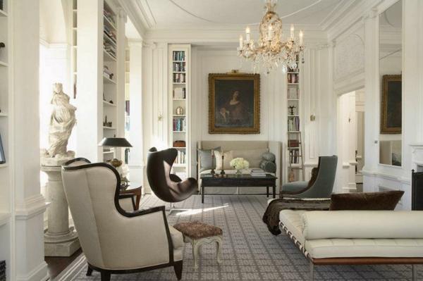 sessel luxuriöses wohnzimmer bild offene regale