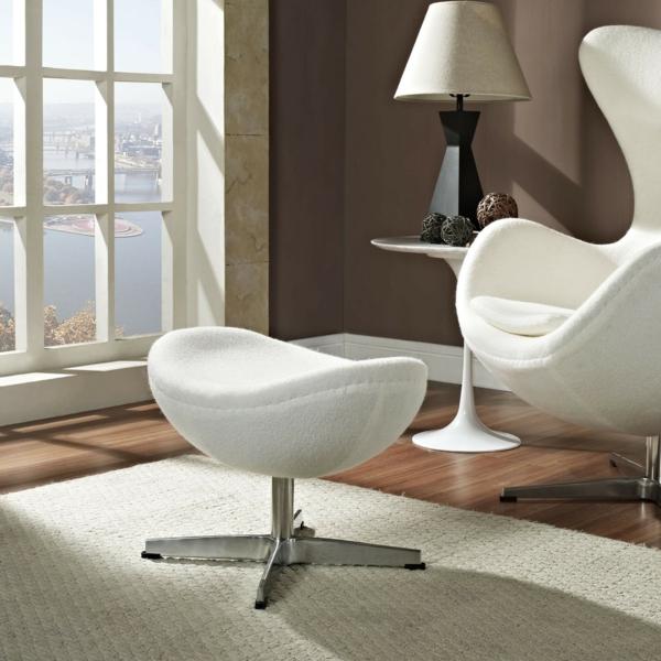 sessel weiß design hocker wohnzimmer