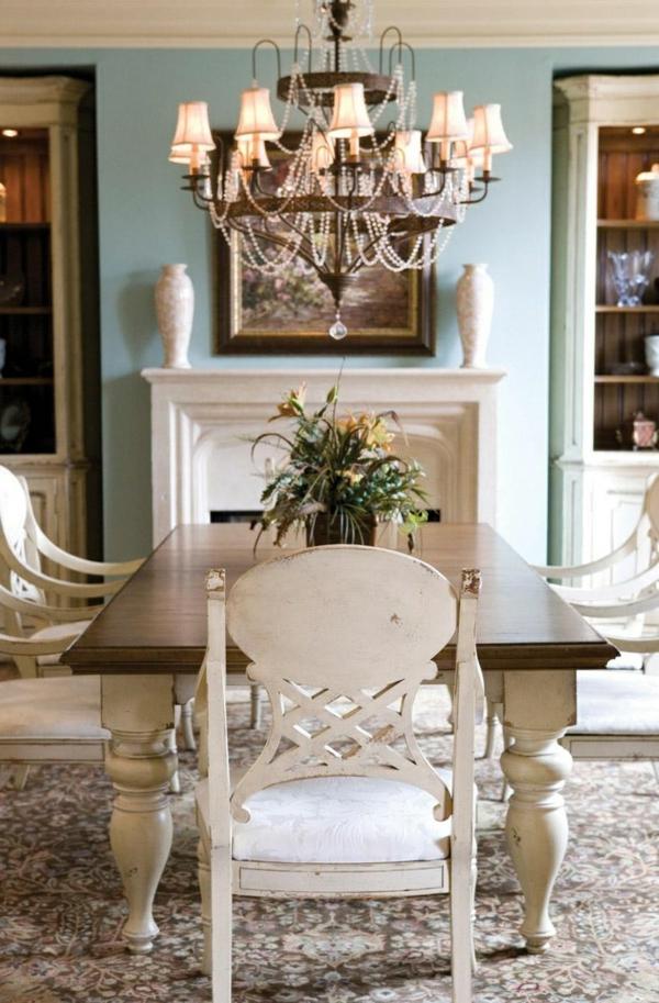 esszimmermöbel massiv weiß esszimmertisch mit stühlen massivholzmöbel shabby shic stil