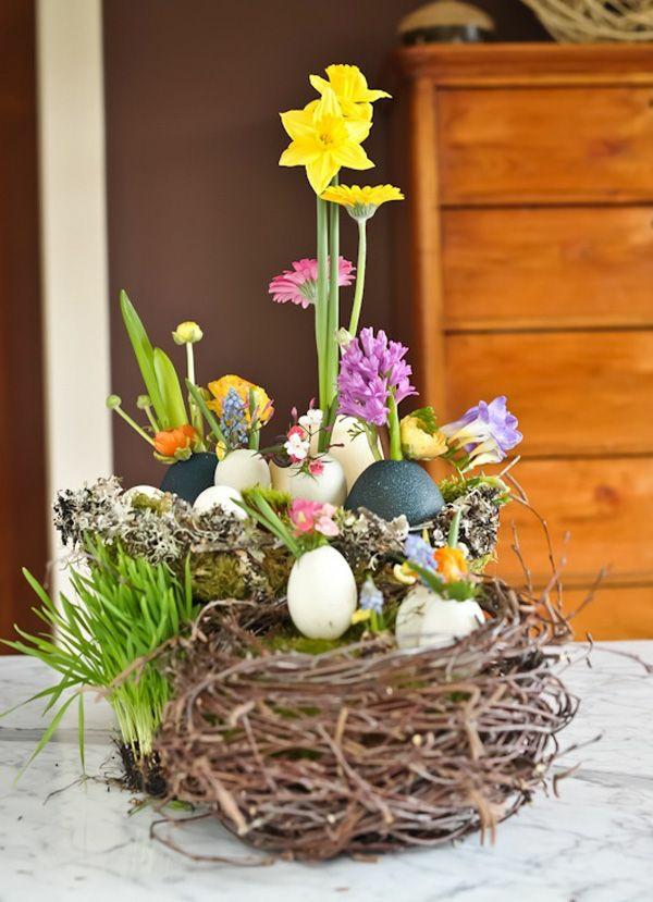 festliche tischdeko ostern frühlingsblumen nest