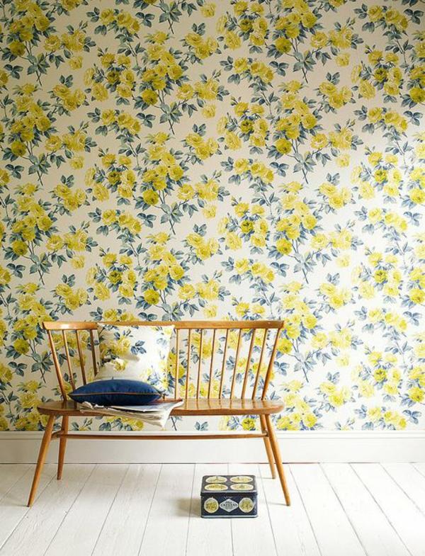 florale tapeten gelbe blumen frische wandgestaltung
