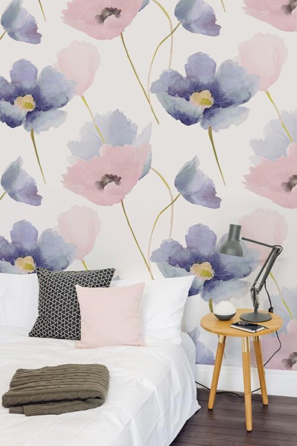 florale tapeten im schlafzimmer