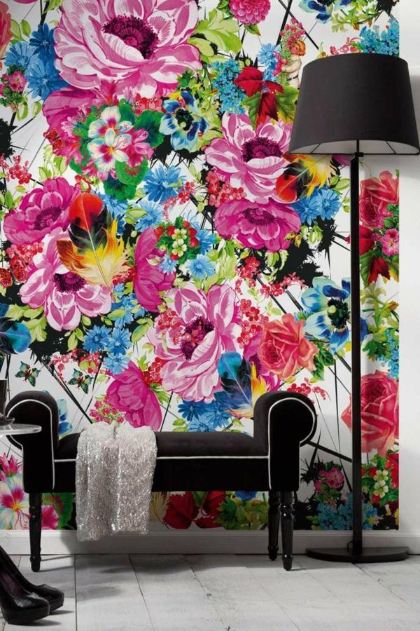 florale tapeten schöne wandgestaltung wohnzimmer