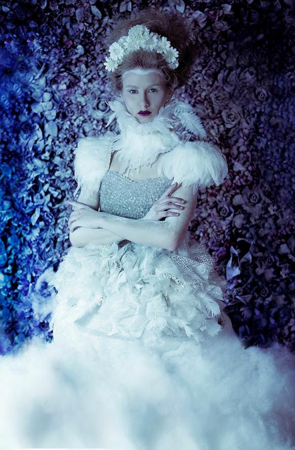 foto kunst eiskönigin weiße feder
