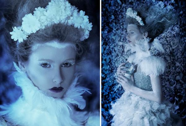 fotokunst weiße blumen haarschmuck glitzer