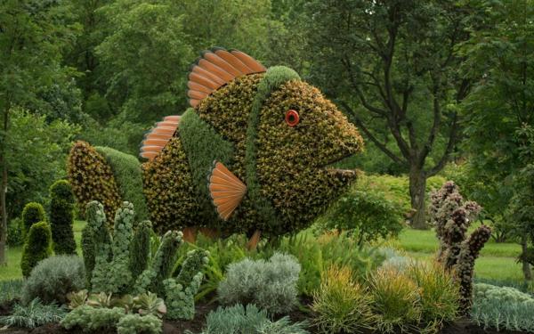 gartenskulpturen fisch sukkulenten vegetation