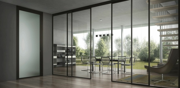 glasschiebetüren esszimmer abtrennen elegante interieur lösung