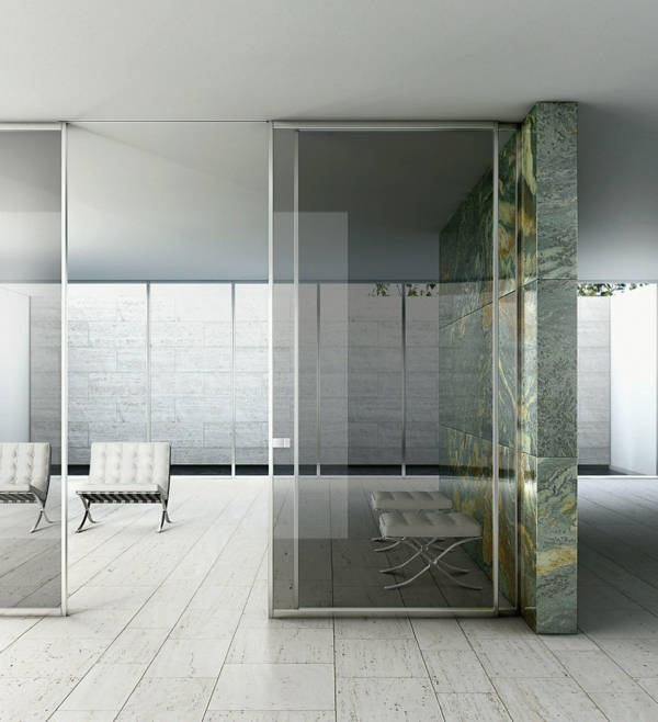 glasschiebetüren moderne zimmertüren innnedesign ideen