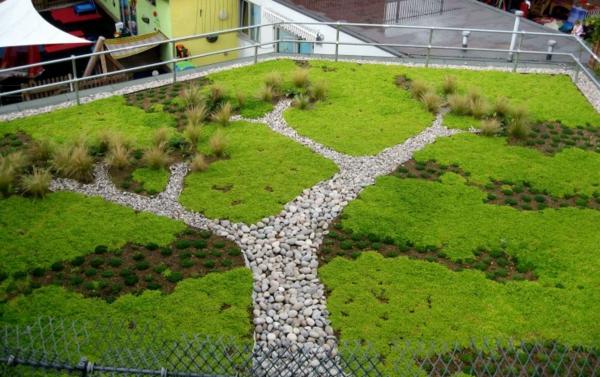 grünes dach baum installation