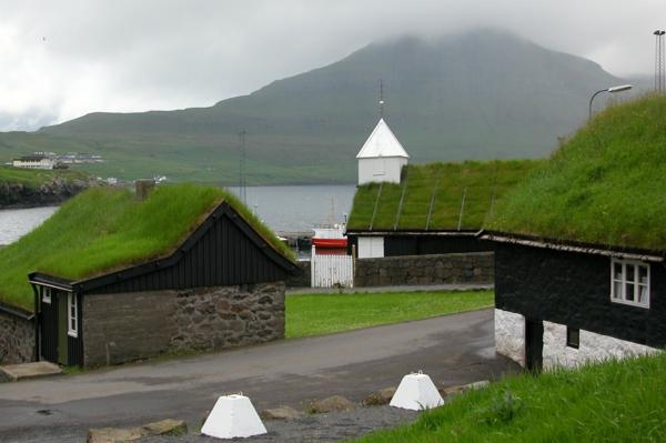 grünes dach gras traditionelle häuser