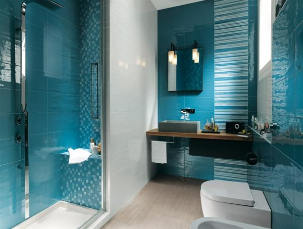 havana blau fliesen glanz spiegel waschbecken