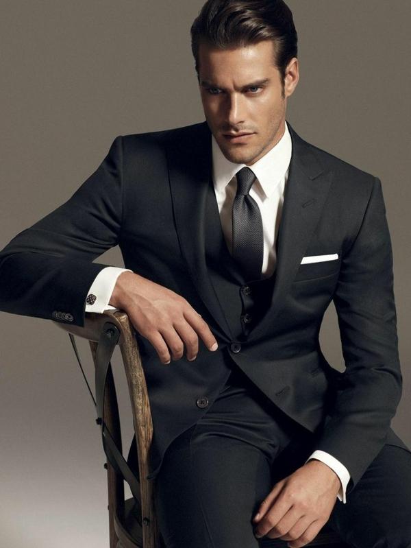 herrenmode italienischer anzug schwarz männer anzug
