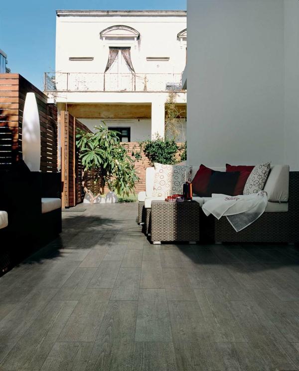 holz bodenfliesen außenbereich terrasse