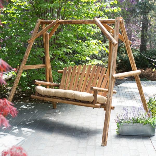 holzschaukel garten bambus