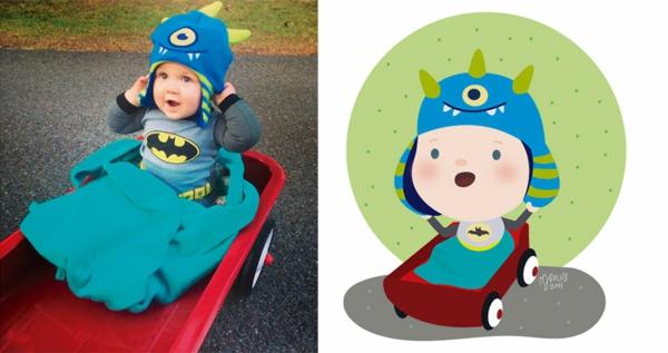 illustration baby foto plastikauto batman