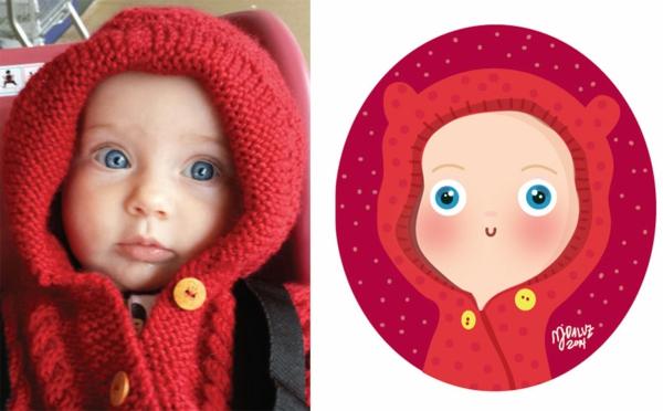 illustration baby foto rote strickjacke