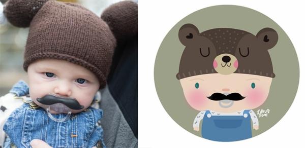 kinderfoto baby foto schnurrbart