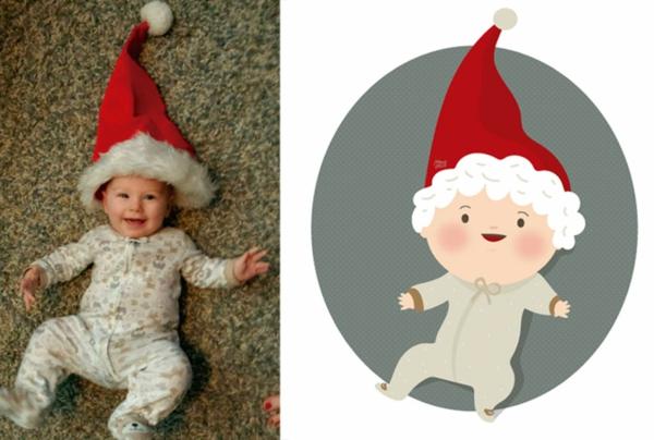 illustration baby foto weihnachtsmann