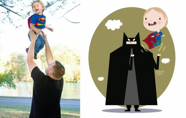 kinderfoto junge superman vater batman