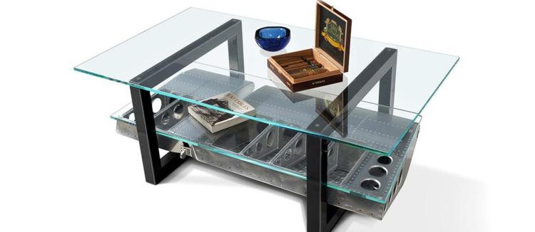 industrial style möbel ausgefallene möbel couchtisch glas
